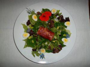 Easy entertaining. Mozzerella & air dried ham salad