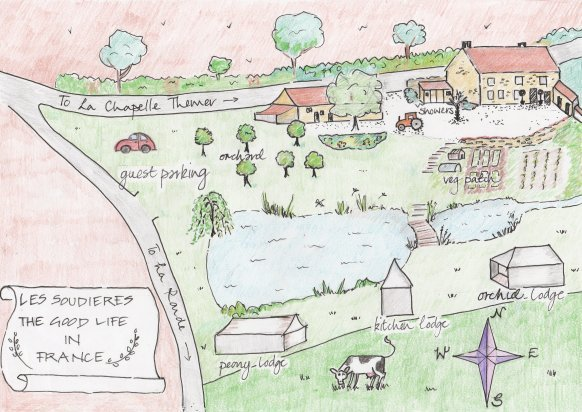 Hand Drawn site map of The Good Life in France Glamping Lodges